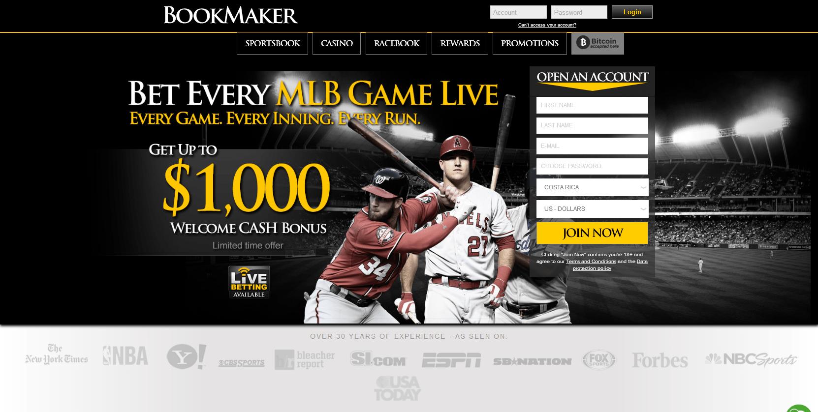 Bookmaker sportsbook betting baseball sports betting free withdrawals